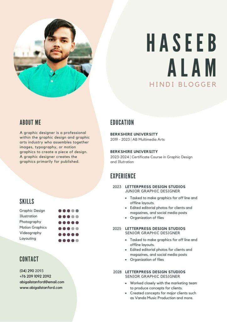 Creative Resume Format of Haseeb Alam